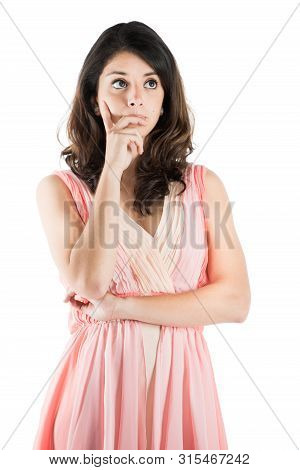 Isolated White Background Of A Young Woman On A Pink Dress While On Deep Thought