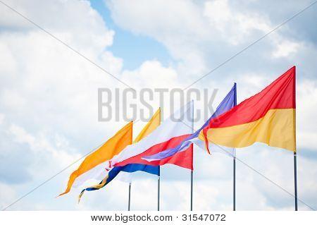 Triangular Flags In Wind