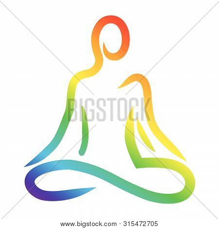 Meditation, Abstract Human Figure, Colorful Vector Logo Icon