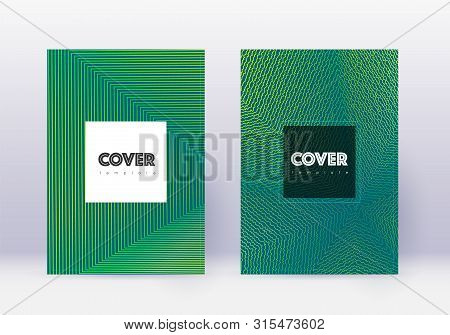 Hipster Cover Design Template Set. Green Abstract Lines On Dark Background. Cool Cover Design. Emine