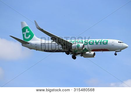 Amsterdam, The Netherlands - July 21st 2019:  Ph-hzg Transavia Boeing 737-800 On Final Approach To A