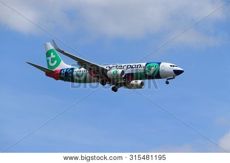 Amsterdam, The Netherlands - July 21st 2019: Ph-hsi Transavia Boeing 737-800 On Final Approach To Am