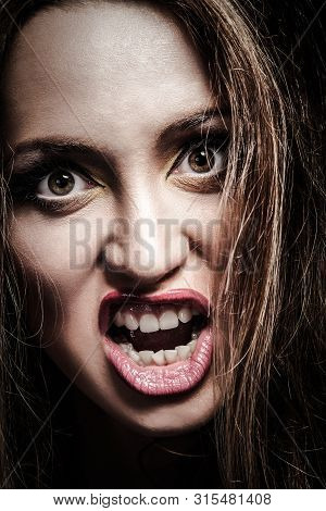 Portrait Young Angry Woman. Negative Human Emotion Face