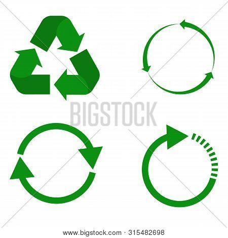Recycle Icon On White Background. Flat Style. Set Recycle Icon For Your Web Site Design, Logo, App,