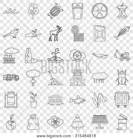 Catastrophe Icons Set. Outline Style Of 36 Catastrophe Icons For Web For Any Design