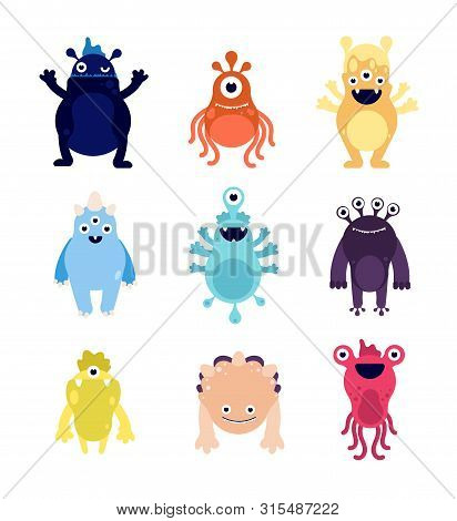 Funny Monsters. Cute Baby Monster Aliens Bizarre Avatars. Crazy Hungry Halloween Animals Isolated Ca