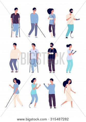 Disabled People. Handicapped Persons With Crutches And Wheelchair Isolated Vector Characters For Dis