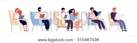 Readers Characters. Persons Reading Books Sitting On Chair In Bookstore. Students Studying In Univer