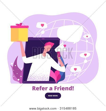 Man With Megaphone Offers Referral Gifts. Digital Marketing And Referral Program Vector Banner. Adve