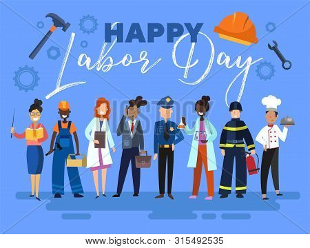 Happy Labor Day Card Or Poster Design With A Group Of Multiracial People From The Community In Diffe