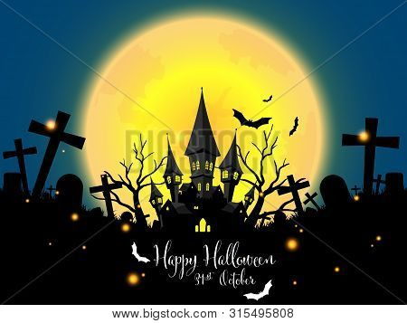 Halloween Background With Haunted House With Moon ,halloween Elements And Happy Halloween Text.