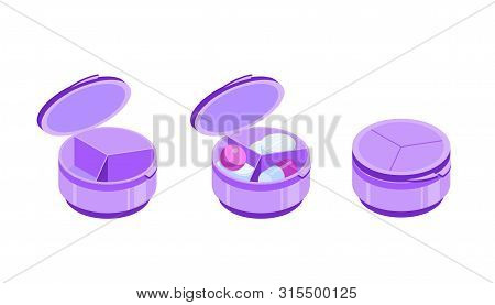 Round Pill Organizer With Three Sections. Pill Box With Open And Closed Cap. Containers Empty And Wi