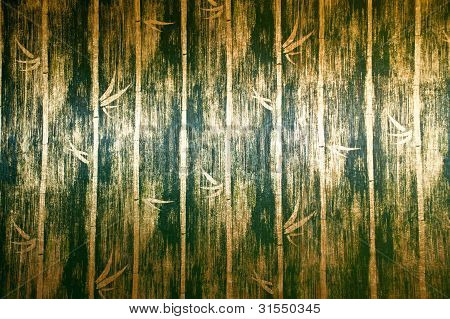 green bamboo wall texture In Bed room Thai Lana style poster