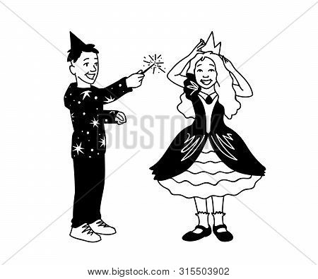 Boy In Festive Hat Holds Magic Wand In His Hand And Girl In Dress Corrects Crown On Her Head. Happy
