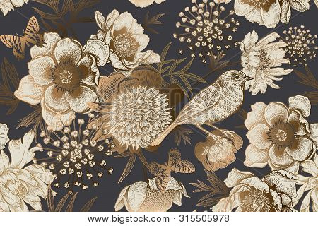 Seamless Background With Garden Flowers Peonies, Bird And Butterflies. Luxury Pattern For Creating T