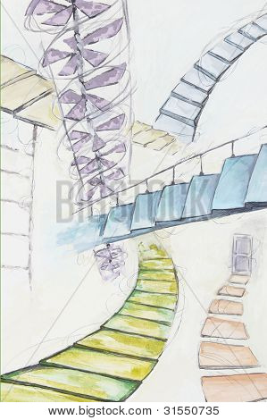 Abstraction With Many Diffirent Staircases