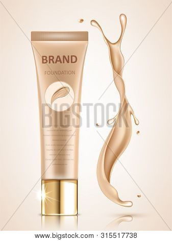 Cosmetic package design set, blank foundation tube mockup for design uses in complexion color tone. Realistic vector illustration poster