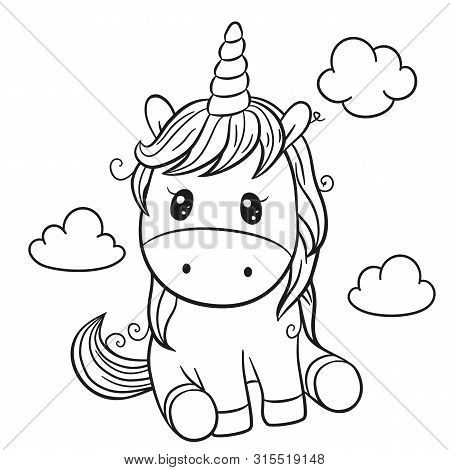 Cute Cartoon Unicorn Outlined For Coloring Book Isolated On A White Background