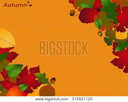 Autumn Season Striped Yellow Paper Copy Space Personalisable Background With Decorative Text And Lea