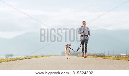 Bright Sunny Morning Canicross Exercises. Female Runs With His Beagle Dog And Happy Smiling.