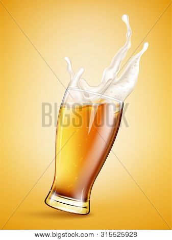 Glass With Splashing Beer  Isolated On Golden  Background