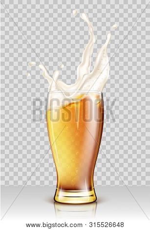 Glass With Splashing Beer Isolated On Transparent Background