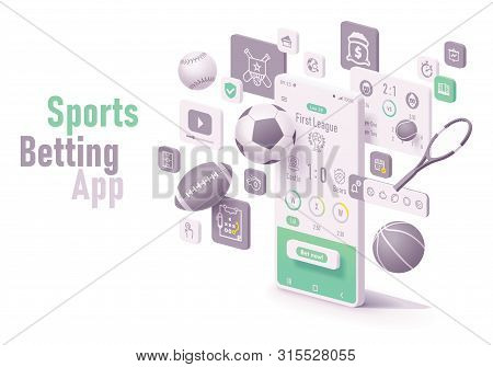 Vector Online Sports Betting App Concept. Smartphone With Roulette, Casino Chips Or Tokens, Blackjac