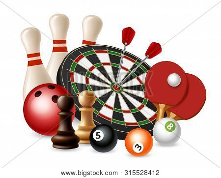 Gambling Sport Games. Vector Bowling, Darts, Chess, Ping Pong Isolated On White Background. Bowling