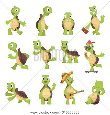 Cartoon Turtles. Happy Funny Animals Running Tortoise Vector Collection. Illustration Of Turtle Frie