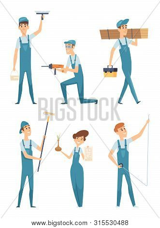Worker Characters. Professional People Builders Constructors Factory Workers Home Repair Mascot Vect