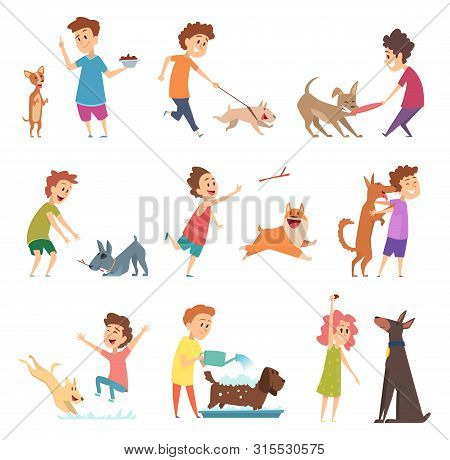 Pets And Kids. Happy Little Puppy Dogs And Their Owners Hugging Playing Smiling Feeding Vector Anima