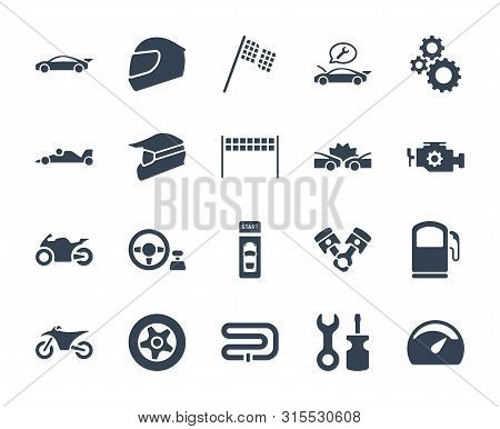 Solid or glyph design icon set of racing video game and esport concept. poster
