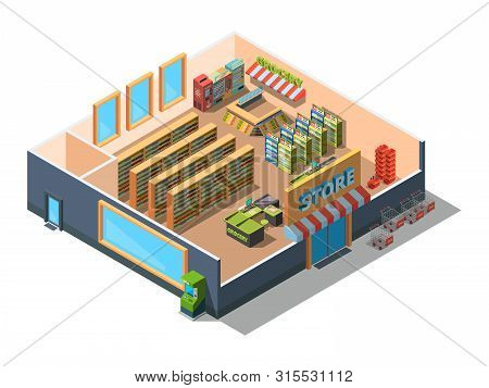 Supermarket Interior. Cross Section Of Retail Market Building Mall With Equipment And Grocery Sectio