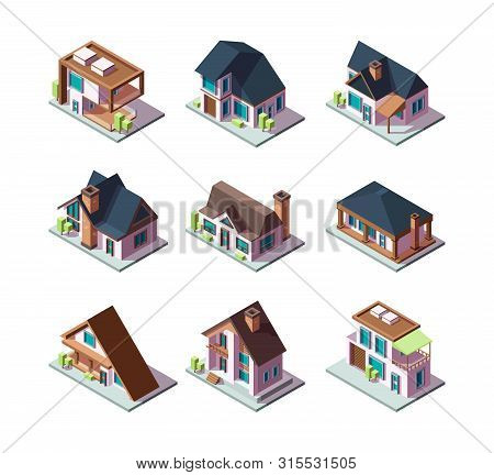 Private Modern Houses. City Residential Models Of Buildings Miniature 3d Low Poly Vector Isometric I