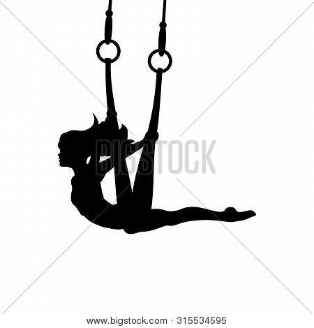 Silhouette Girl Yoga Exercise Pose Aero Flying. Vector Illustration