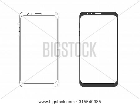 Mobile Phone Line .smartphone - Vector .mobile Phone Silhouette On A White Background.mobile Gadget,