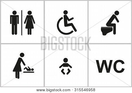 Set Of Wc Icons Gender Male Female Baby Change Handicapped Toilet Isolated On A White Background Pic