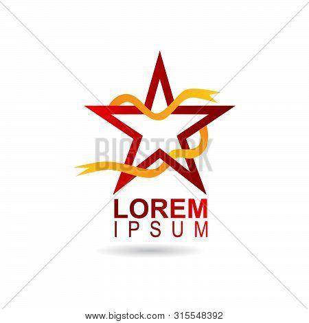 Star Logo Emblem On White Isolated Background