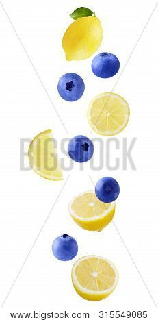 Levitation Lemon And Blueberry Fruits Isolated On White Background