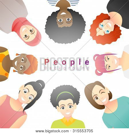 Diversity Concept Background , Group Of Happy Multi Ethnic Women , Vector , Illustration