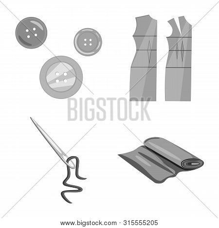 Vector Illustration Of Dressmaking And Textile Sign. Collection Of Dressmaking And Handcraft Vector