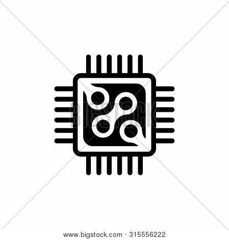 Micro Processor, Chip Circuit. Flat Vector Icon Illustration. Simple Black Symbol On White Backgroun