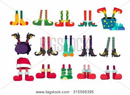 Santa Claus Elf Feet Set. Christmas Characters, Legs, Shoes. Christmas Concept. Vector Illustrations