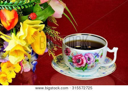Tea Party - Tea In Cups, Teapot, Garden Flowers On A Summer Day. Daily Tea Is A Delicious, Popular,