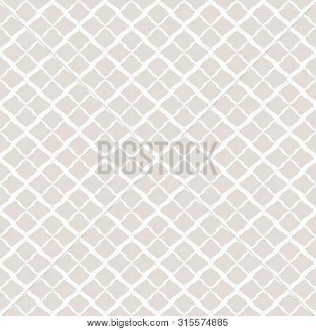 Subtle Vector Geometric Seamless Pattern. Simple White And Light Beige Texture. Background With Mesh