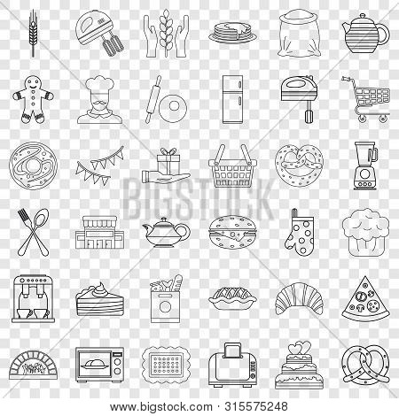 Gastronomy Icons Set. Outline Style Of 36 Gastronomy Icons For Web For Any Design