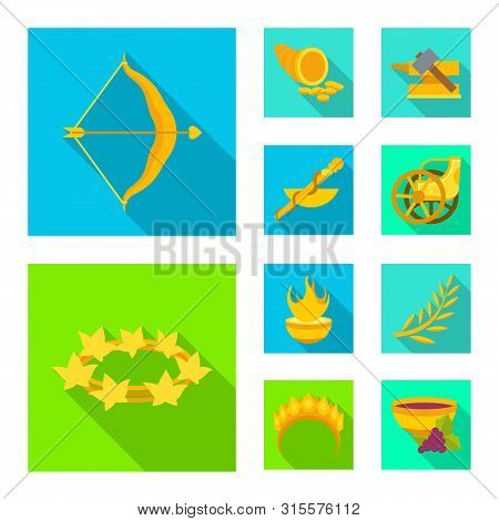 Vector Design Of Deity And Antique Sign. Collection Of Deity And Myths Stock Vector Illustration.
