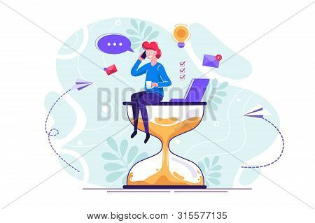 Happy Handsome Office Worker With Many Hands Sitting On An Hourglass And Doing Several Actions At Th
