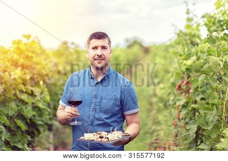 Happy Successful Winemaker In Vineyard Holding Glass Of Red Wine And Board With Cheese Nuts And Grap
