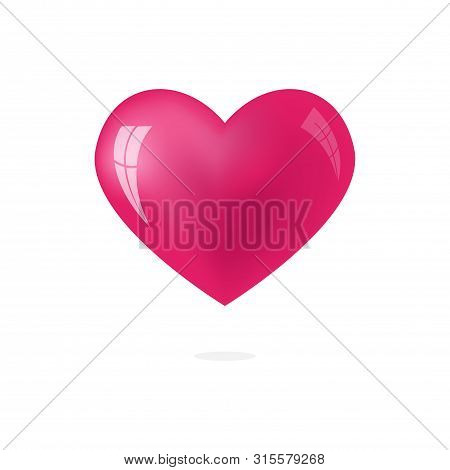 Illustration 3d Icon Of Pink Heart, Heart Icon. Heart Icon Art. Heart Icon Eps. Heart Icon Image. He
